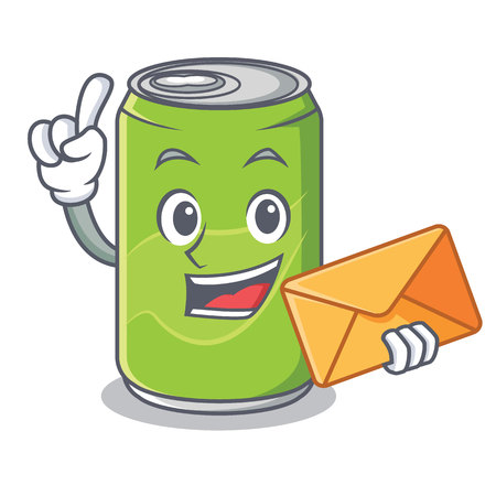 With envelope soft drink character cartoon