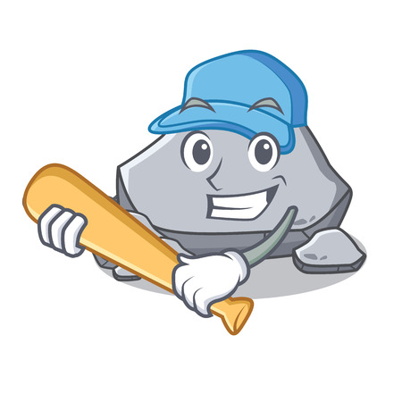 Playing baseball stone character cartoon style