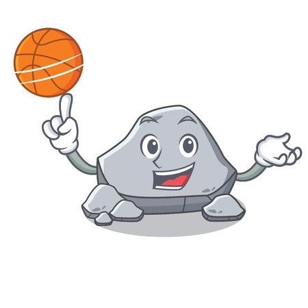 With basketball stone character cartoon style Illustration