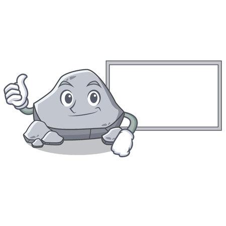 ボード石のキャラクター漫画スタイルで親指アップ