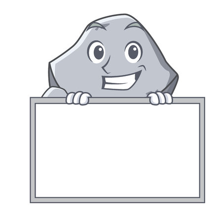 Grinning with board stone character cartoon style
