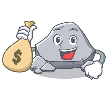 With money bag stone character cartoon style Illustration