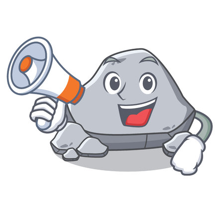 With megaphone stone character cartoon style