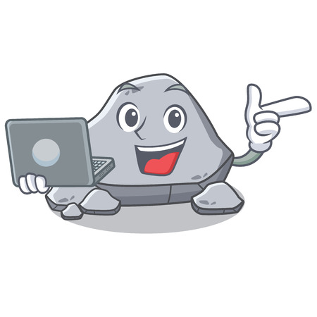 With laptop stone character cartoon style