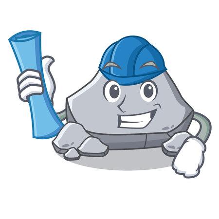 Architect stone character cartoon style
