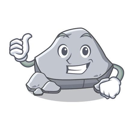 石のキャラクター漫画スタイルを親指アップ  イラスト・ベクター素材