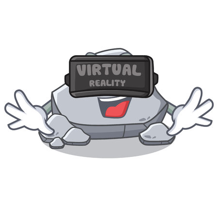 With virtual reality stone character cartoon style Illustration