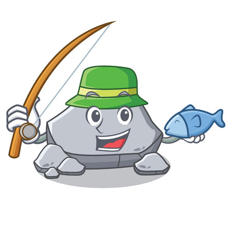Fishing stone character cartoon style