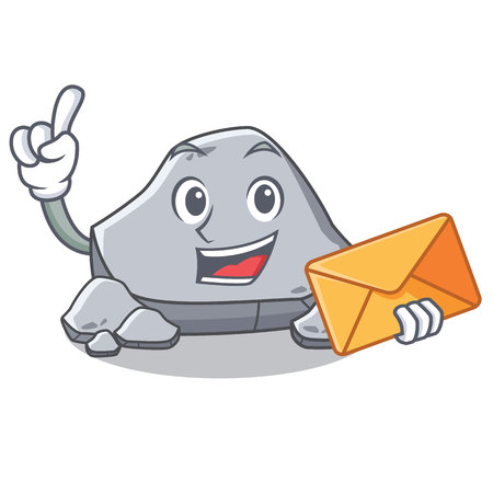 With envelope stone character cartoon style Illustration