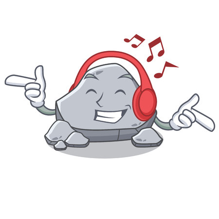 Listening music stone character cartoon style Ilustrace