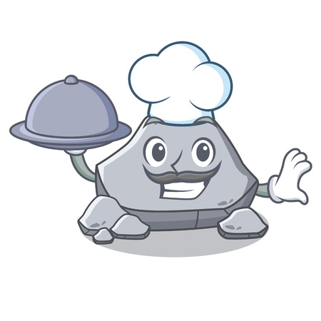 Chef with food stone character cartoon style Illustration