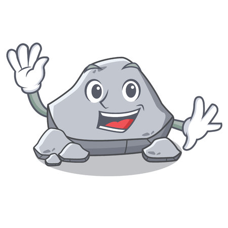 Waving stone character cartoon style vector illustration
