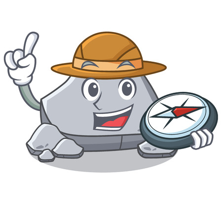 Explorer stone character cartoon style vector illustration