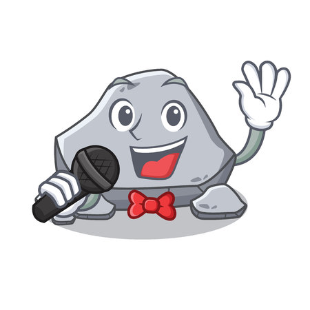 Singing stone character cartoon style vector illustration Illustration