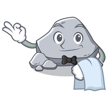 Waiter stone character cartoon style vector illustration 向量圖像