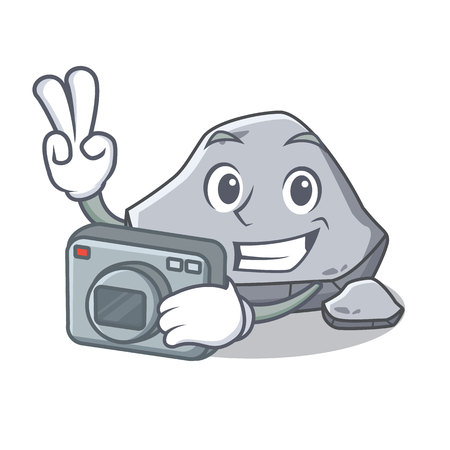 Photographer stone character cartoon style vector illustration