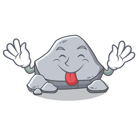 Tongue out stone character cartoon style