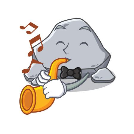 With trumpet stone character cartoon style