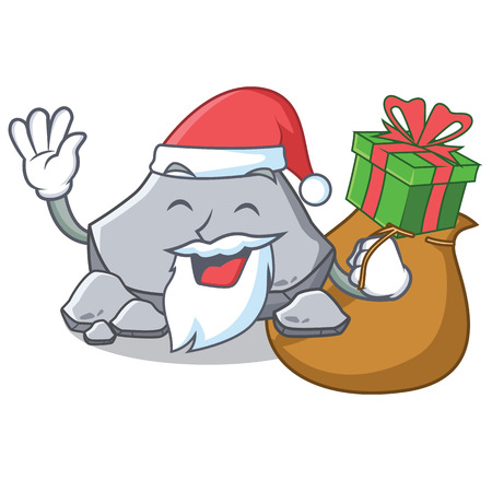 Santa with gift stone character cartoon style