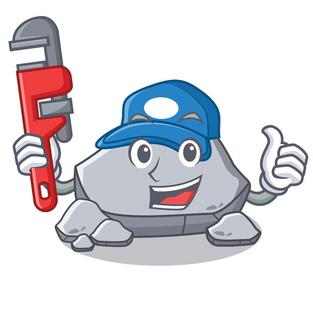 Plumber stone character cartoon style Illustration