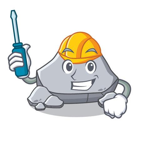 Automotive stone character cartoon style