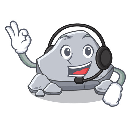 With headphone stone character cartoon style vector illustration