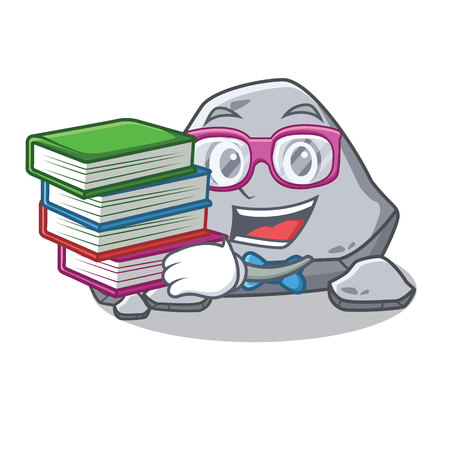 Student with book stone character cartoon style vector illustration Illustration