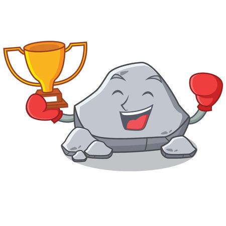 Boxing winner stone character cartoon style vector illustration