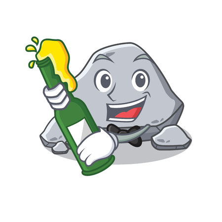 With beer stone character cartoon style vector illustration