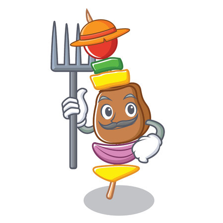 Farmer barbecue character cartoon style