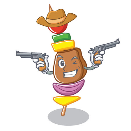 Cowboy barbecue character cartoon style Illustration