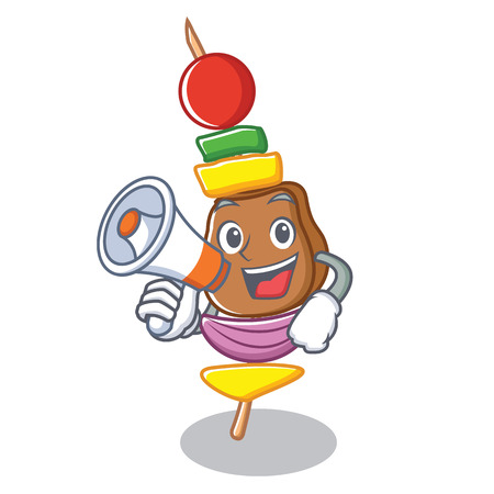 With megaphone barbecue character cartoon style