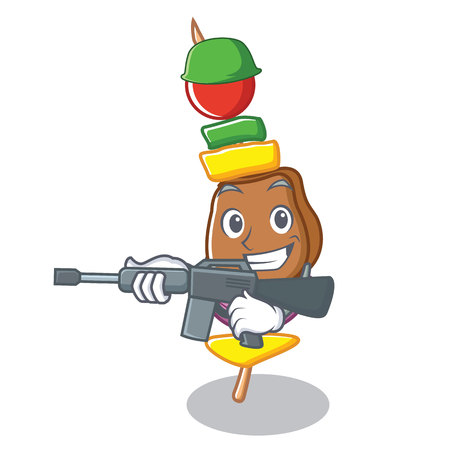 Army barbecue character cartoon style