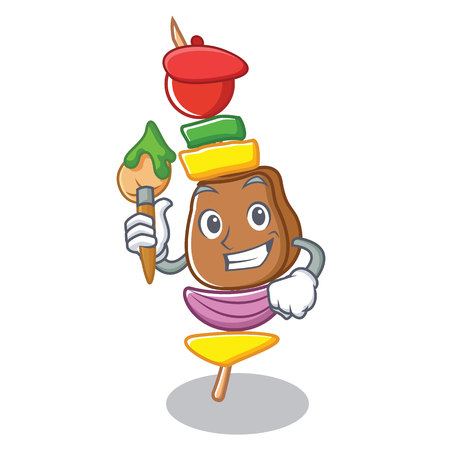 Artist barbecue character cartoon style