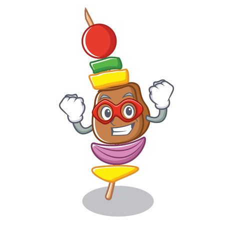 Super hero barbecue character cartoon style