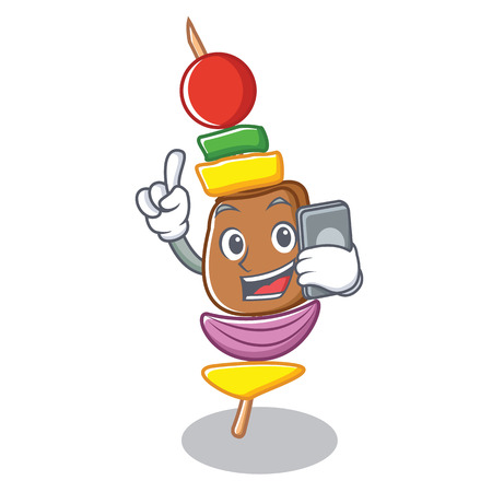 With phone barbecue character cartoon style vector illustration