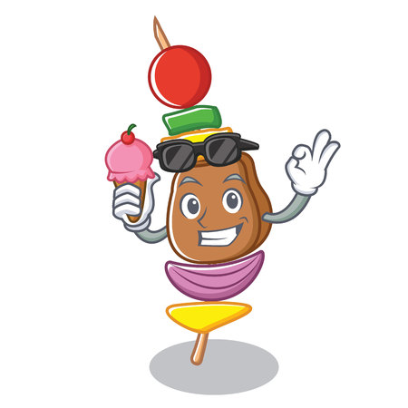 With ice cream barbecue character cartoon style