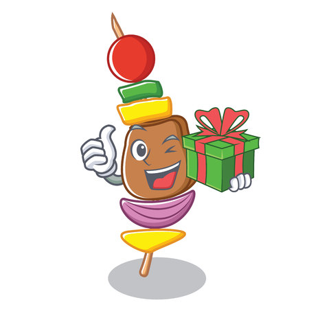 With gift barbecue character cartoon style vector illustration