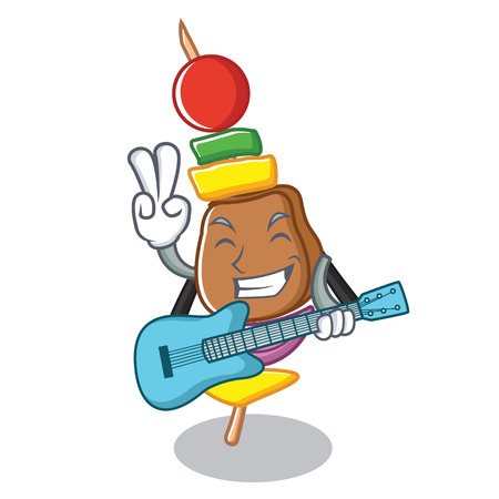 With guitar barbecue character cartoon style vector illustration