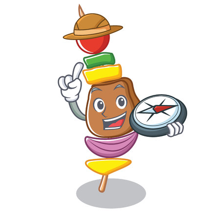 Explorer barbecue character cartoon style vector illustration