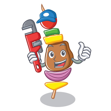 Plumber barbecue character cartoon style vector illustration