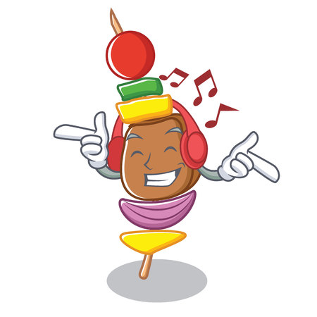 Listening music barbecue character cartoon style vector illustration Illustration