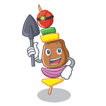 Miner barbecue character cartoon style