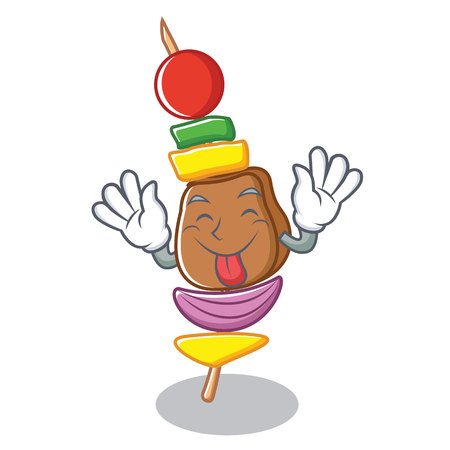 Tongue out barbecue character cartoon style