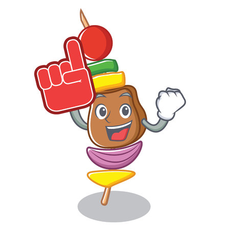 Foam finger barbecue character cartoon style vector illustration