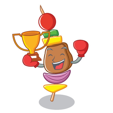 Winner boxing barbecue character cartoon style vector illustration