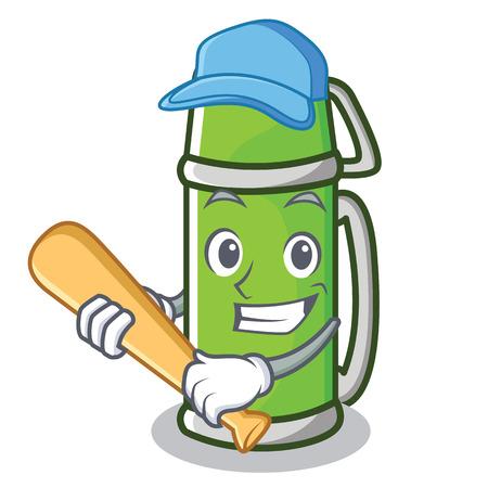 Playing baseball flask character cartoon style Illustration