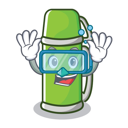 Diving flask character cartoon style vector illustration