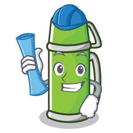 Architect flask character cartoon style vector illustration Illustration