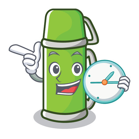 With clock character cartoon style vector illustration